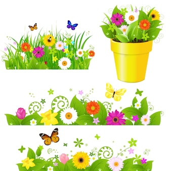 Green grass with flowers set, isolated on white background, .