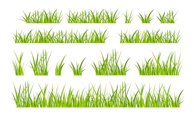 Green grassland lawn field border flat style design vector illustration set