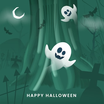 Green graveyard background with crescent moon, flying bats and cartoon ghosts for happy halloween.
