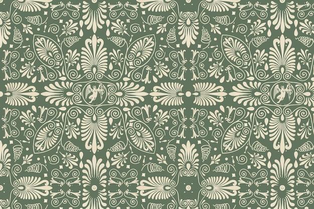 녹색 그리스 키 벡터 원활한 패턴 배경