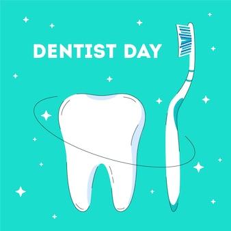 Зеленая открытка для празднования дня стоматолога