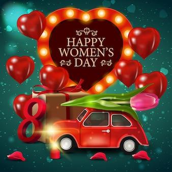 튤립과 자동차와 여성의 날에 대 한 녹색 인사말 카드