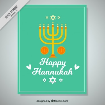 Green greeting card with coins and candelabra for hanukkah