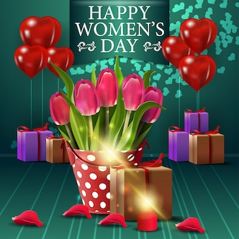 Green greeting postcard for women's day with blloon