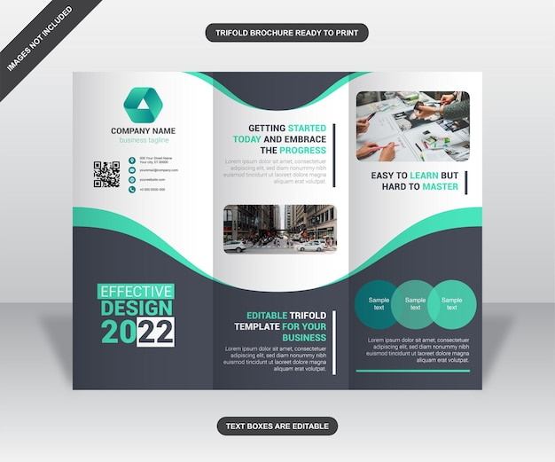 Green and grey curves trifold business brochure design