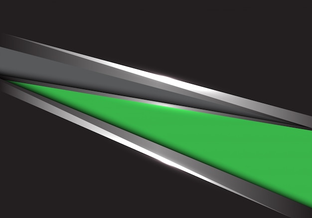 Green grey silver triangle black background.
