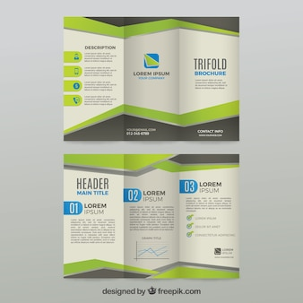 Green and grey trifold business brochure template