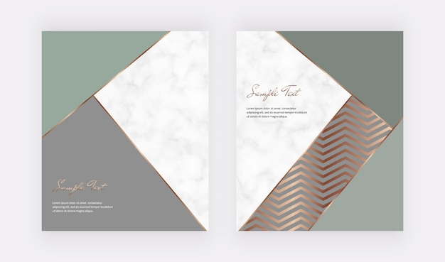 Green, grey with gold geometric cover templates with triangular shapes