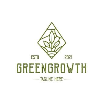 Green growth rhombus logo template