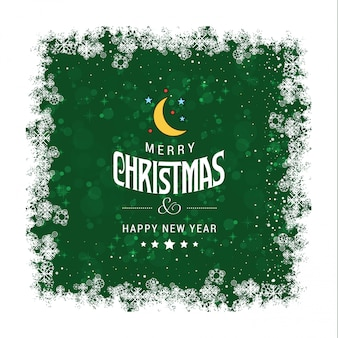 Green grunge christmas greetings card