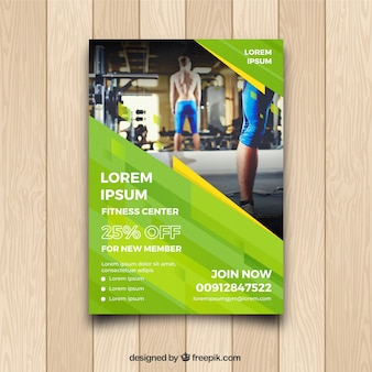 Green gym cover template with image