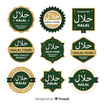 Green halal label collection with flat design
