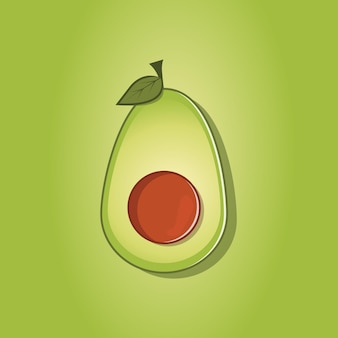 Green half avocado fruit with leaves illustrations