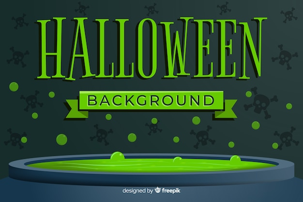 Green halloween background with flat design