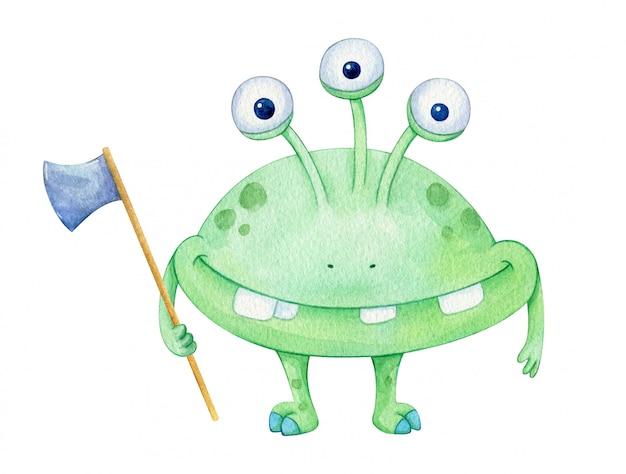 斧と3つの目を持つ緑のハロウィンモンスター。