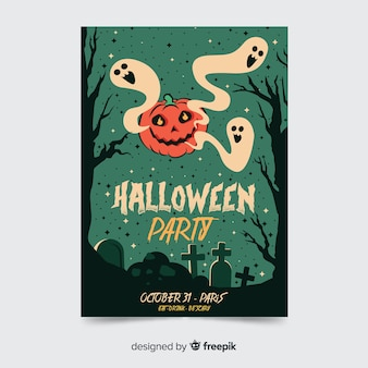 Green halloween party flyer template