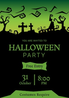 Green halloween party roughen silhouette greeting