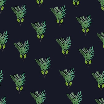 Green hand drawn leaves and branches bouquets seamless pattern on black background