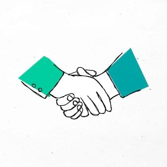 녹색 손으로 그린 파트너십 클립 아트