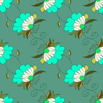 花と緑の手描きのシームレスなパターン