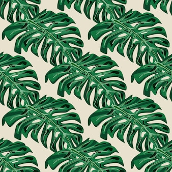 緑の手描きの熱帯の手のひらモンステラは、シームレスな落書きパターンを残します。パステルグレーの背景。テキスタイル、ファブリック、ギフトラップ、壁紙のフラットベクタープリント。無限のイラスト。