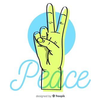 Green hand peace sign background