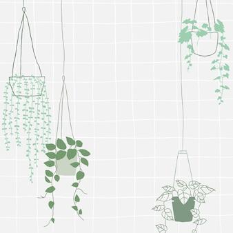緑のぶら下げ植物ベクトルフレーム