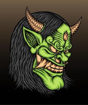 緑の般若のマスクのイラスト。
