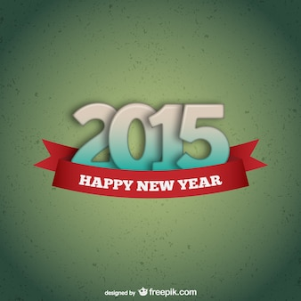 Green happy 2015 card