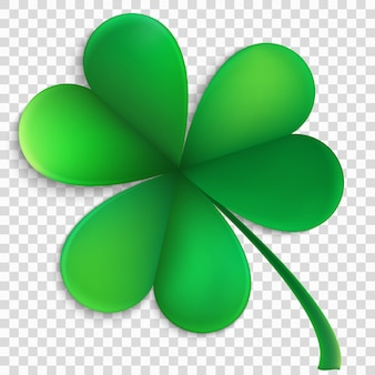 Green happy clover leaf isolated on transparent background. saint patricks day object.
