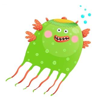 子供のための緑の幸せなかわいいクラゲ