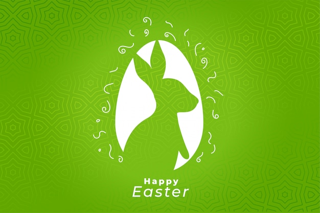 Green happy easter festival celebration card design