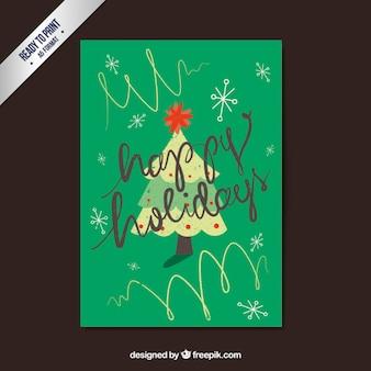 녹색 해피 홀리데이 카드