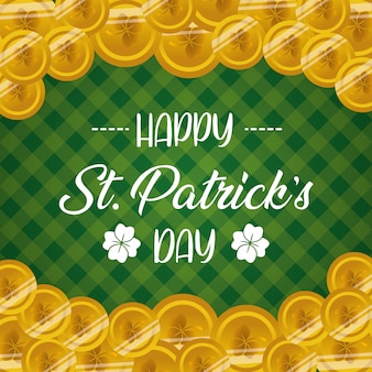 Green happy st patricks day greeting card with coins