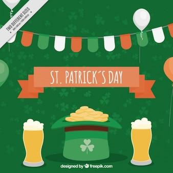 맥주와 함께 녹색 모자 배경