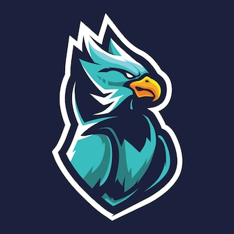 Green hawk esport logo illustration