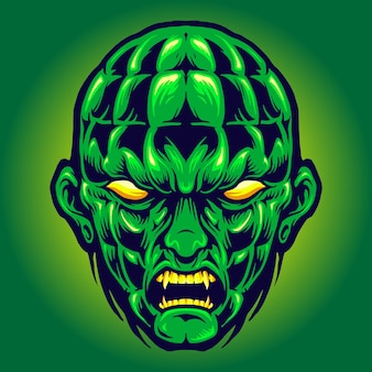 Green head angry monster halloween vector illustrations for your work logo, mascot merchandise t-shirt, stickers and label designs, poster, greeting cards advertising business company or brands.