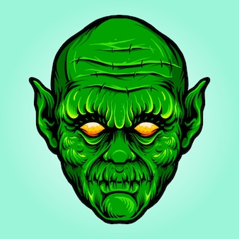 Green head monster isolated halloween vector illustrations for your work logo, mascot merchandise t-shirt, stickers and label designs, poster, greeting cards advertising business company or brands.
