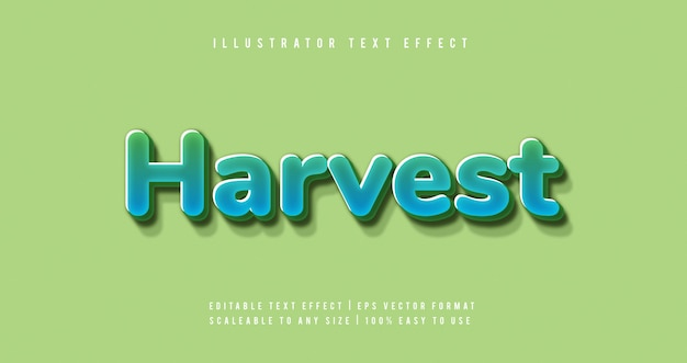 Green healthy harvest text style font effect