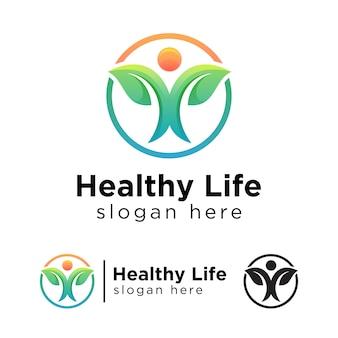 緑の健康的な生活のグラデーションのロゴ、葉のロゴのコンセプトテンプレートを持つ人々