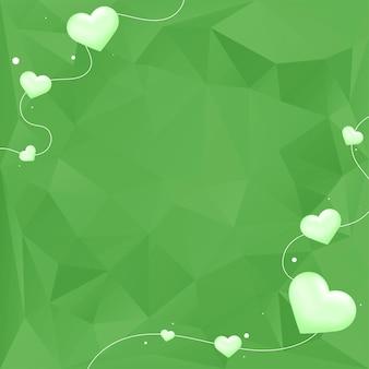 緑のハートの泡の幾何学的な背景