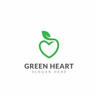 Green heart logo vector design template with heart shape and leaf