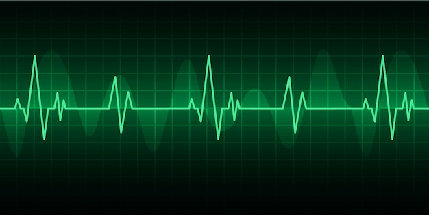 Green heart pulse monitor with signal. heart beat icon. ekg