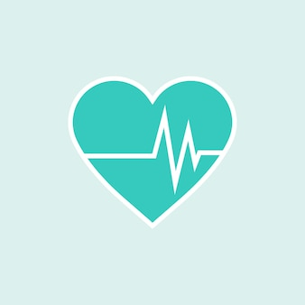 Green heart with cardiograph element
