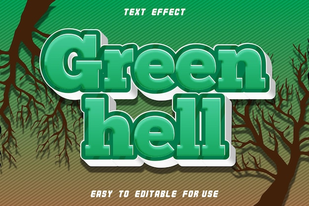 Green hell editable text effect emboss comic style