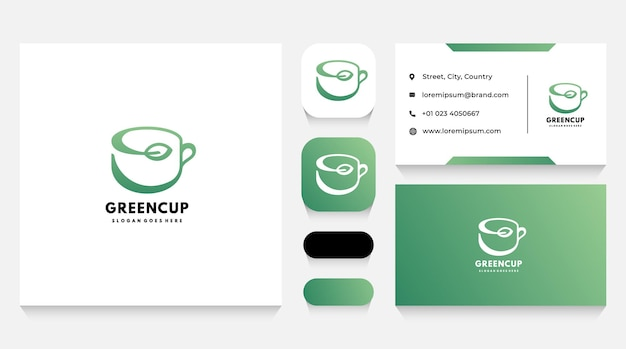 Green herbal cup logo template and business card