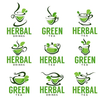 Green,herbal, organic tea, vector logo template design
