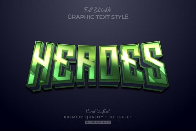 Редактируемый эффект стиля текста green heroes premium