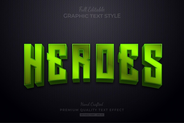 Green heroes editable text effect font style