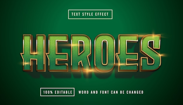 Green heroes text effect editable